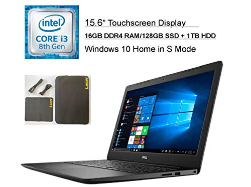 2020 Dell Inspiron 15.6' Touchscreen Business Laptop Computer, Intel Core i3-8145U (Beats i5-7100U), 16GB DDR4 RAM, 128G SSD +1TB HDD, AC WiFi, HDMI, USB 3.1, Windows 10 + LASER Accessories and Sleeve