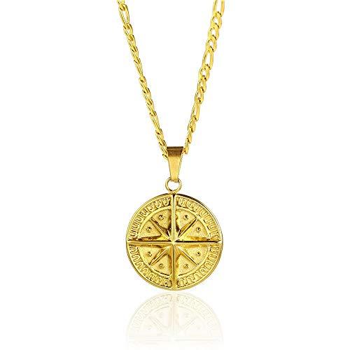 Twistedpendant - Collar con colgante de brújula de estrella del norte de acero inoxidable y cadena de oro Figaro
