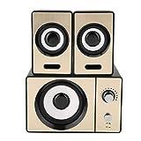 ROMACK Altavoces para Ordenador portátil Altavoces estéreo de música de Alta fidelidad sin pérdidas Altavoces envolventes estéreo 2.1 Sonido Envolvente estéreo para PC para portátiles(Oro)