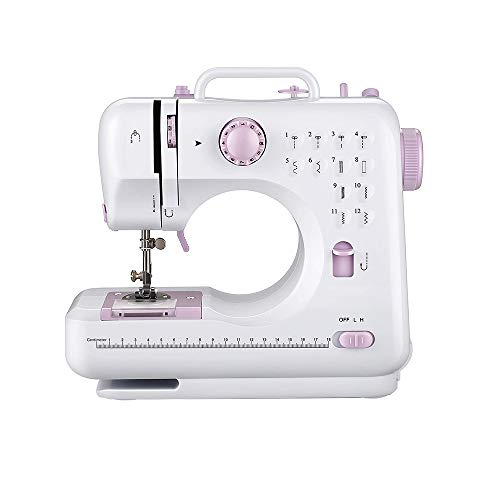 Kasachoy Mini máquina de coser para principiantes, 12 patrones de puntadas, pedal de control de doble velocidad, máquina de coser con prensatelas reemplazable, máquina de coser overlock eléctrica