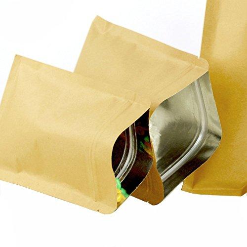 50pcs (5.5mil) Kraft papel soporte de base bolsa hermética -- Stand Up cremallera bolsas bolsa de embalaje de papel de aluminio bolsa bolsas de té para tuerca de café y Candy frutos secos (10x 15cm)