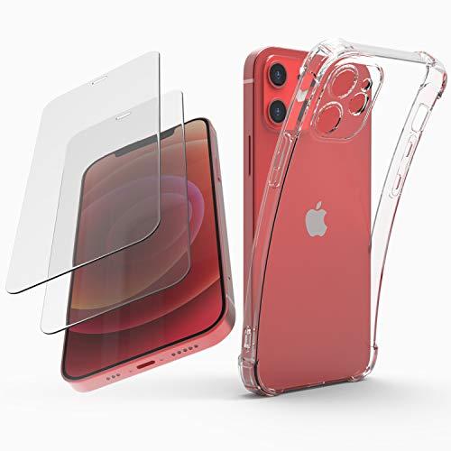 KINGUARD Cover per iPhone 12 Mini 5.4 Pollice con 2 Pezzi Pellicola Protettiva in Vetro Temperato,Custodia Trasparente Silicone TPU Case per iPhone 12 Mini 5.4 Pollice