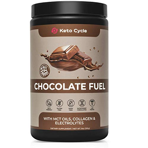 Keto Cycle Keto Collagen Protein Powder with MCT Oil Powder & Electrolyte Powder (Chocolate - 9oz.) Great in Keto Coffee or Your Keto Shake
