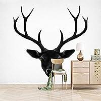 QHZSFF 壁画壁紙 黒鹿の頭 3D 写真の壁紙寝室の壁の家の装飾現代のクリエイティブリビングルームの子供の部屋の壁壁画 200 x 140cm
