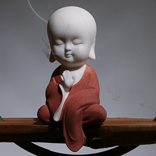 White Ceramic Little Cute Monk Figurine (Red)