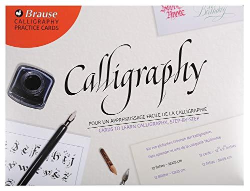 Brause 194B Packung (mit 10 Lernkarten für Kalligraphie, mit 9verschiedenen Alphabet, ideal für Anfänger und als Geschenk)