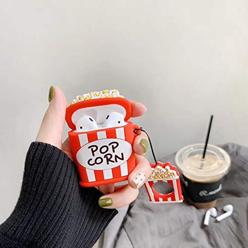 Kompatibel mit Airpods 1 & 2 Schutzhülle,Kompatibel mit Airpods Hülle Niedliche 3D Cute Cartoon Bunte Silikon Schutzhülle Charging Case für Mädchen Junge Kratzfest Stoßfest TPU Cover Case - Popcorn