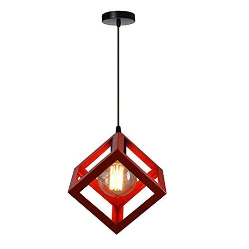 Lampadario Industriale Semplice a Forma di Cubo Lampada a sospensione in Metallo E27 40W Retrò Vintage Lampadario, Rosso