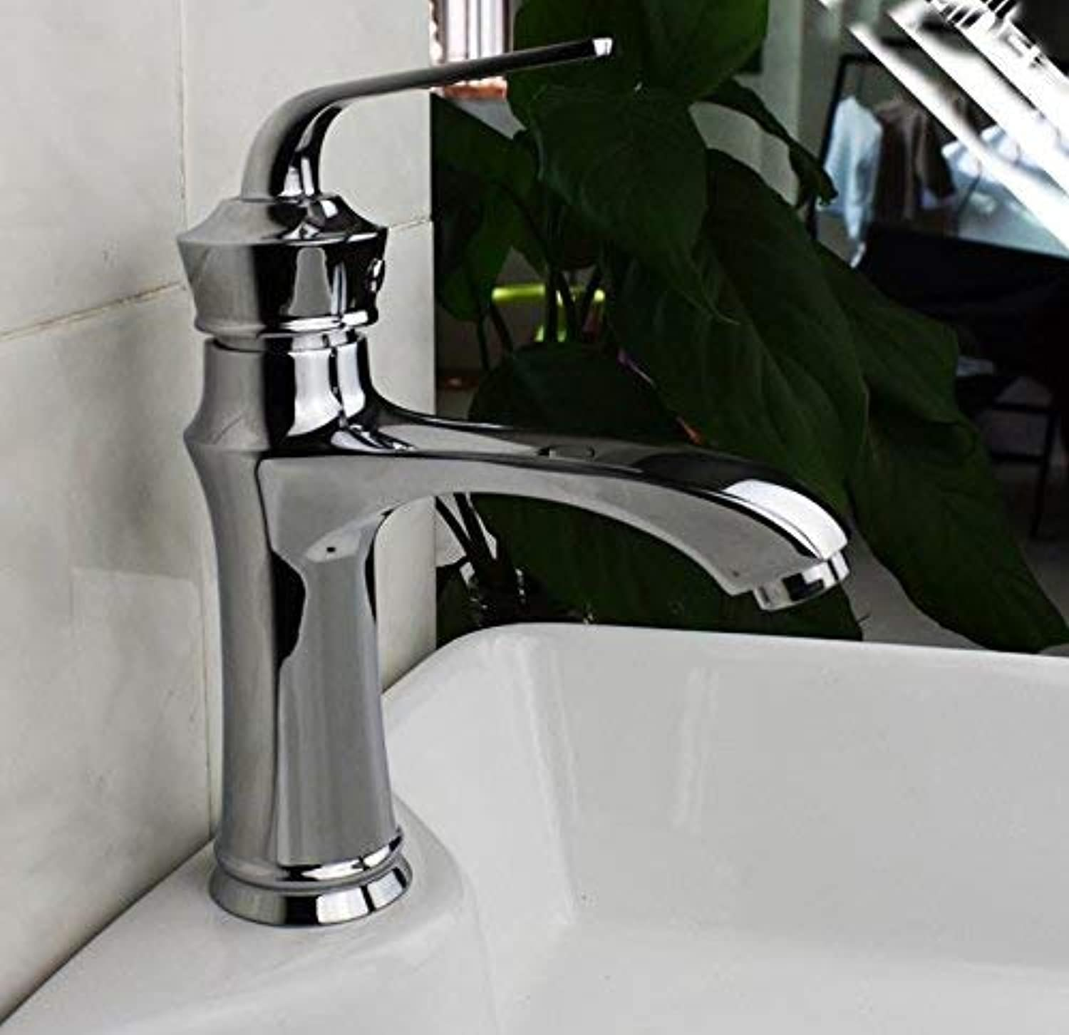 Bathroom Kitchen Sink Faucet,Basin Sink Mixer Tap Brass Single Hole Single Handle Hot and Cold Water.