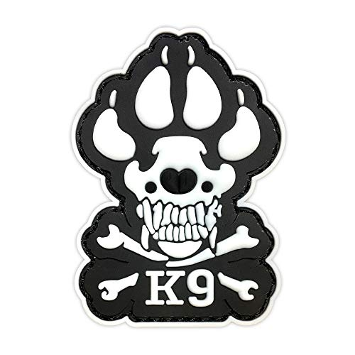 Morton Home K9 & Crossbone Killer Attack Police Dog Fastener PVC Embroidered Army Swat Morale Hook Loop Backing Tactial Badge Swat for Service Animal Vest Morale Patch