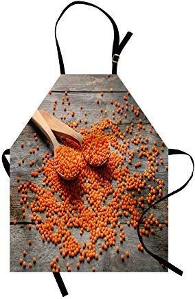 Keuken Apron, 28 x 32 Inch Natuurlijke Kleur Apron, Foto van linzen op lepels en Grunge Houten Planken Tafel, Unisex Keuken Bib Schort met Verstelbare hals voor het koken Bakken Tuinieren, Taupe Donker Oranje Pastel Bruin