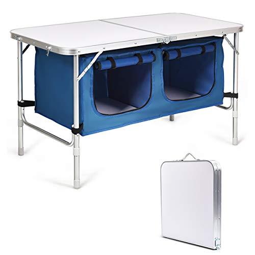 Costway Table de Camping Pliante Table de Jaridn en Aluminium Pliable et Compacte - 2 Compartiments de Rangement Réglable en Hauteur Meuble de Jaridn pour Pique-Nique (Bleu)