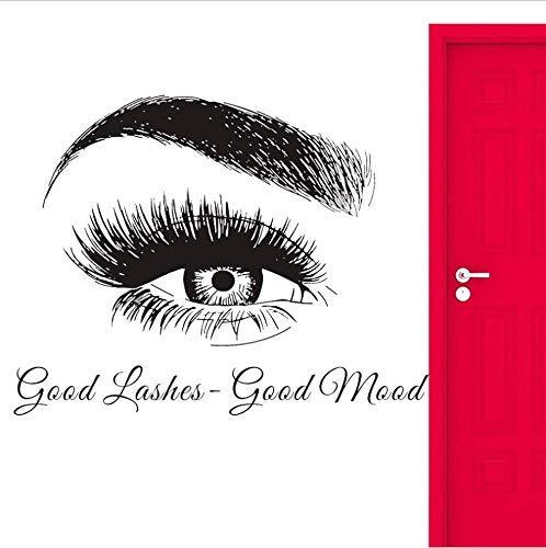 Cils sourcils salon de beauté stickers muraux décoratifs stickers oeil maquillage cite maquillage mode 42x54cm
