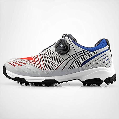FJJLOVE Zapatos De Golf del Muchacho, Niños Cuero Resistente Al Agua Zapatos De Golf Transpirable Encaje Zapatos para Caminar Antideslizantes Entrenadores Casual Shoes,Rojo,35