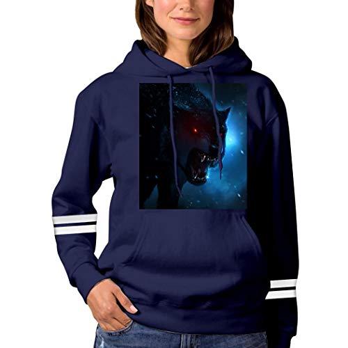Dark Evil Wolf Eyes Sweatshirt 3D Print Hoode Sweatshirts Funny Pullover Tops Fall Winter for Women Navy S