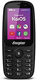 Energizer E241s Phone with 120 AED Etisalat Prepaid Credit, KaiOS Operating System, 4G LTE, Dual Sim - Black