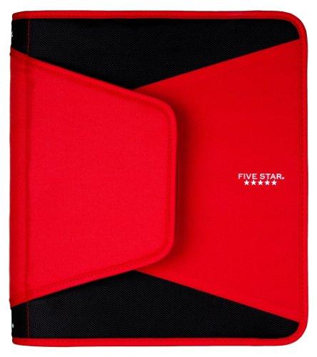 Five Star 1-1/2 Inch Zipper Binder, Durable, Red (72530)