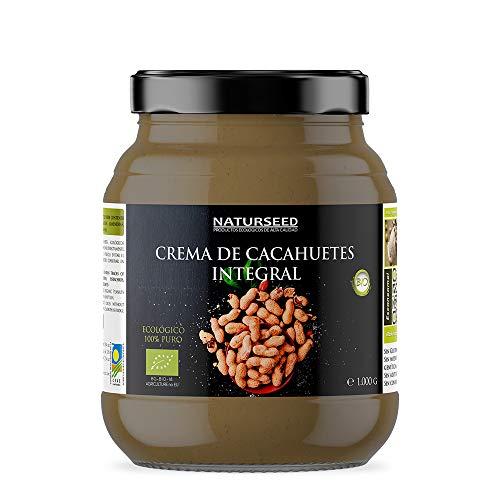 Naturseed Crema de Cacahuete Organica 100% Natural Ecologica - Sin azúcar, Sin Sal, Sin Gluten, Sin Lactosa - Cacahuetes Bio Europeos Crudos con Piel - Sabor Dulce - Proteinas - Gratis Recetas (1 kg)