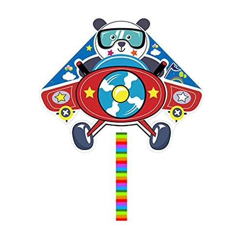 Panda fliegt einen Flugzeug-Cartoon-Drachen, Kinder und Erwachsene fliegen leicht Langschwanzdrachen im Wind, geeignet für Spiele und Aktivitäten im Freien