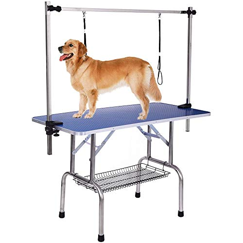 Heavy Duty Pet Dog Grooming Table Large Professional with Adjustable Overhead Arm, Clamps, Two Grooming Noose, Tray