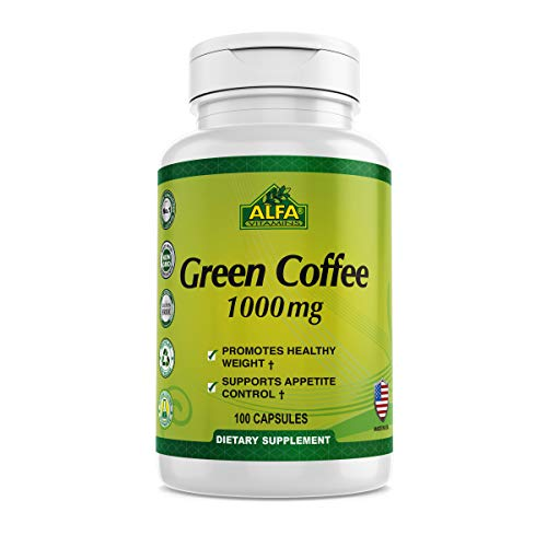 Green Coffee natural bean extract by Alfa Vitamins® - Pure Premium Antioxidant Beans - 1000 mg - Daily Supplement for weight control, energy boost, healthy metabolism - 100 Capsules