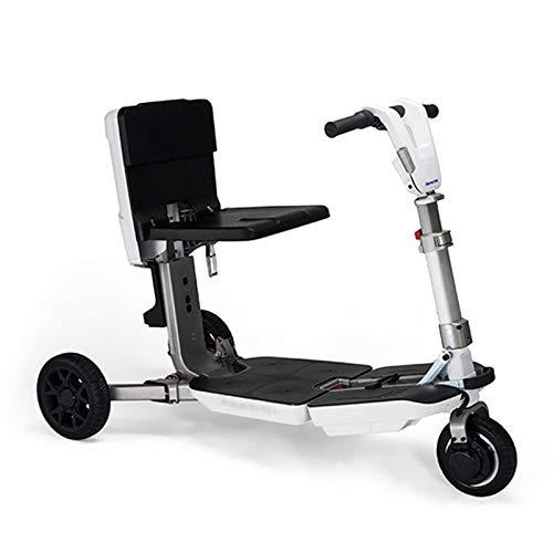Life Equipment - Patinete de movilidad de 3 ruedas con energía eléctrica, silla de ruedas móvil para adultos mayores, patinete de viaje plegable y compacto con batería de larga duración, color blan