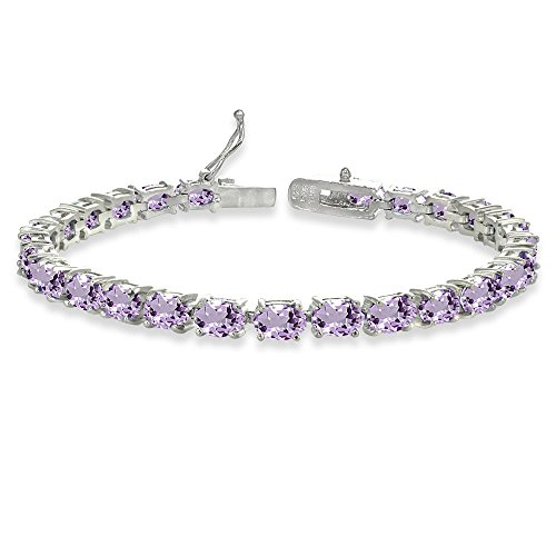 Sterling Silver 6x4mm Oval-cut Amethyst Tennis Bracelet