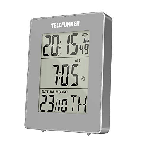 Wecker Funkwecker digital Funkuhr DCF LCD Multifunktion Bewegungssensor grau zweifacher Alarm Innentemperatur Thermometer Datum Monat Kalender Wochentag Zweite Zeit TELEFUNKEN FUD-30S (G)