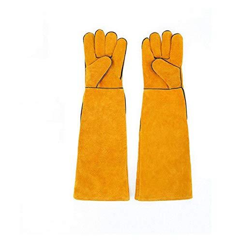 Tierhandschuhe, Kratz- / bissfeste Handschuhe, extra lang, verdicktes Rindsleder, Perfecthome-Handschuhe für den Haustierhandschuh, verstärktes Leder für Hunde- und Gartenhandschuhe (Color : Yellow)