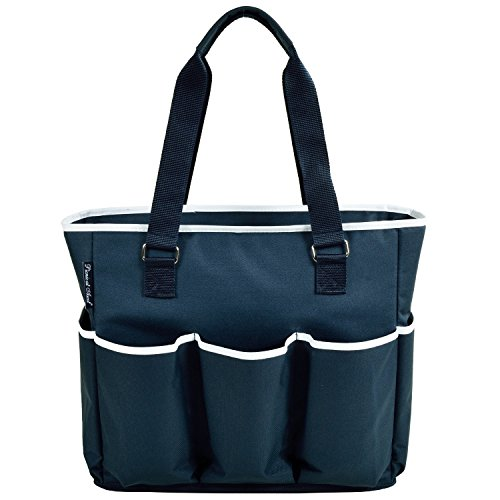 Picnic at Ascot Large Insulated Multi Pocketed Travel Bag With 6 Exterior Pockets, Navy