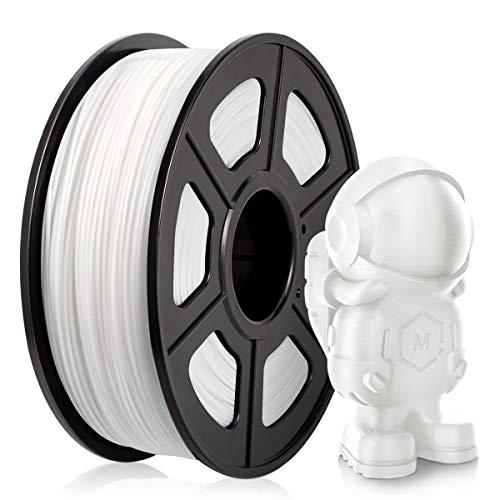 Filamento PLA 1,75 mm, Filamento PLA para impresora 3D, Filamento PLA 1 KG (2,2 lb) PLA Blanco