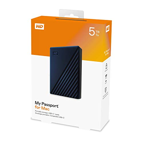 WD 5TB My Passport for Mac Portable External Ha   rd Drive - Blue, USB-C/USB-A - WDBA2F0050BBL-WESN