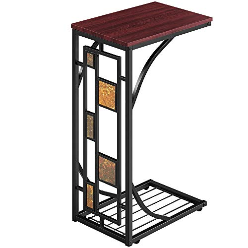 Yaheetech End Table C-Shaped Side Tables Antique Coffee Table with Storage Shelf for Living Room, Office(Grid Style)