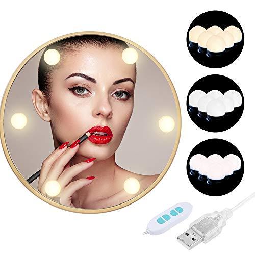 Anpro 6Stk Spiegel Beleuchtung Hollywood-Stil LED Spiegelleuchte, 3 Beleuchtungsmodi Dimmbar Spiegellampe USB für Schminkspiegel Kosmetikspiegel DIY Deko (Warmweiß, Weiß, Mischfarbtemperatur)