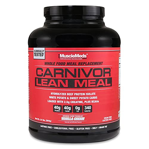 MuscleMeds Carnivor Beef Protein Isolate Lean Meal Replacement Shake, 40 Grams Protein, 40 Grams Carbs, 2.5 Grams creatine, BCAAs, 0 Sugar, Lactose Free, Vanilla Cream