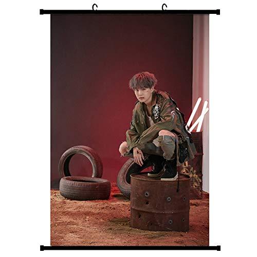 Bestomrogh KPOP BTS Sexto conjunto Familia Fotos Conmemorativas Scroll Pintura Star Hanging Art póster pared 30 x 20 cm A.R.M.Y regalo cálido (SUGA)