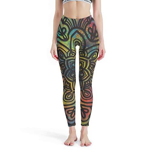 Knowikonwn Romantische dünne Leggings für Damen, Mandala Bedruckte Leggings Colorfu Magic Mandala Muster Bedruckt Yoga Capris Pants für Frauen L weiß