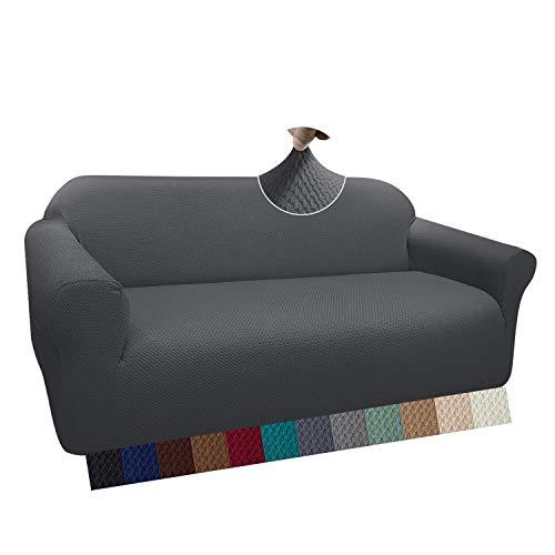 Granbest Thick Sofabezug Stylish Pattern Sofaüberzug für Sofa Stretch Elastische Jacquard Sofahusse Couchhusse mit Armlehne für Wohnzimmer Anti-Rutsch (3 Sitzer, Grau)