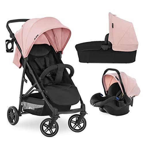 Hauck Rapid 4R Plus Trio Set 3 en1 soporta hasta 25 kg, silla auto compatible con isofix, capazo para bebés, manillar ajustable en altura + portavasos, capota XL con UV 50+, plegado compacto - rosa