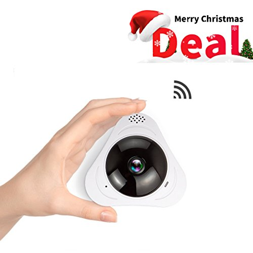 FREDI 960P Fisheye IP Camera Infrared 360° Panoramic Wireless Mini Portable Indoor Cam with IR Night Vision /2-way Audio/ Motion Detection Loop recording (3608w)