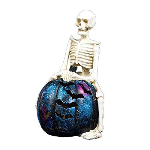 PRETYZOOM Scheletro di Halloween Zucca Illuminazione Ornamenti Simulazione Resina Decorazione con Batteria a Bottone