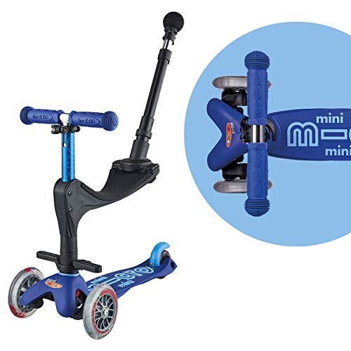 Micro Mini 3in1 Deluxe Plus | 3-Stage Ride-on Micro Scooter with Pushbar for Parents | Toddler Toy for Ages 12 Months to 5 Years (Blue)