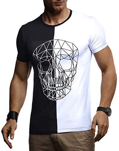 Leif Nelson Herren Sommer T-Shirt Rundhals-Ausschnitt Slim Fit Baumwolle-Anteil Basic Männer Totenkopf T-Shirt Crew Neck Hoodie-Sweatshirt Kurzarm lang LN4670 Schwarz-Weiß Medium