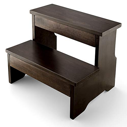Wooden Two Step Stool - Heavy Duty 2 Step Stool for Adult and Kids - Holds up to 300Lb for Kichen/Bathroom/Bedside Step Stool (Walnut)