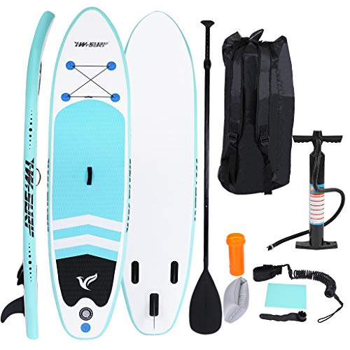 JoJody 10' Inflatable Super Stand Up Paddle Board, Surfboard Adjustable Fin Paddle Wide Stance, Bottom Fin Paddling Surf Control, Non-Slip Deck for Youth & Adult