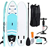 Sopzxclim Inflatable Paddle Boards Surfboard Inflatable Paddleboards Stand up W/Carry Bags, Non-Slip Deck, Paddles, Pump and Finfor Surf Standing Boat for Youth & Adult, 10FT (Blue)
