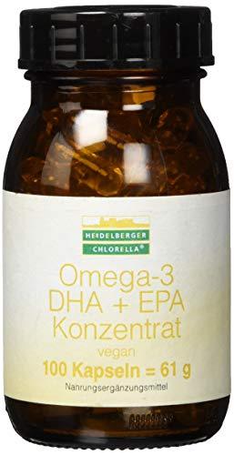 Heidelberger Chlorella – Omega-3 DHA + EPA Konzentrat Kapseln, vegan, aus Algenöl, hochdosiert, gute Bioverfügbarkeit, 61 g, 100 Kapseln