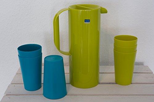 Koziol Rio jus Théière 1,5 l + 6 Tasses/0,3 l couleur moutarde/vert/Turquoise