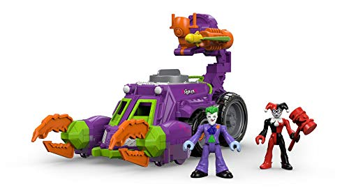 Imaginext DWV56 Joker and Harley Quinn Battle Vehicle Toy with Joker and Harely Quinn Figures, Darts Launcher and Rotating Cannons for Imaginative Play, Suitable From 3 Year Old
