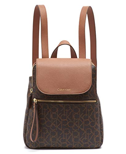 Calvin Klein Elaine Signature Key Item Flap Backpack, Brown/khaki/luggage saffiano